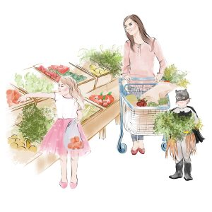 Nanny shopping with children