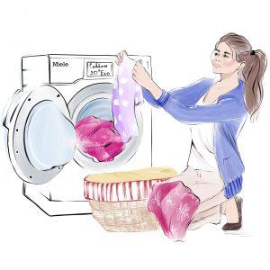 nanny unloading the washing machine